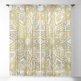 Golden Mandala on Pink Marble Sheer Curtain