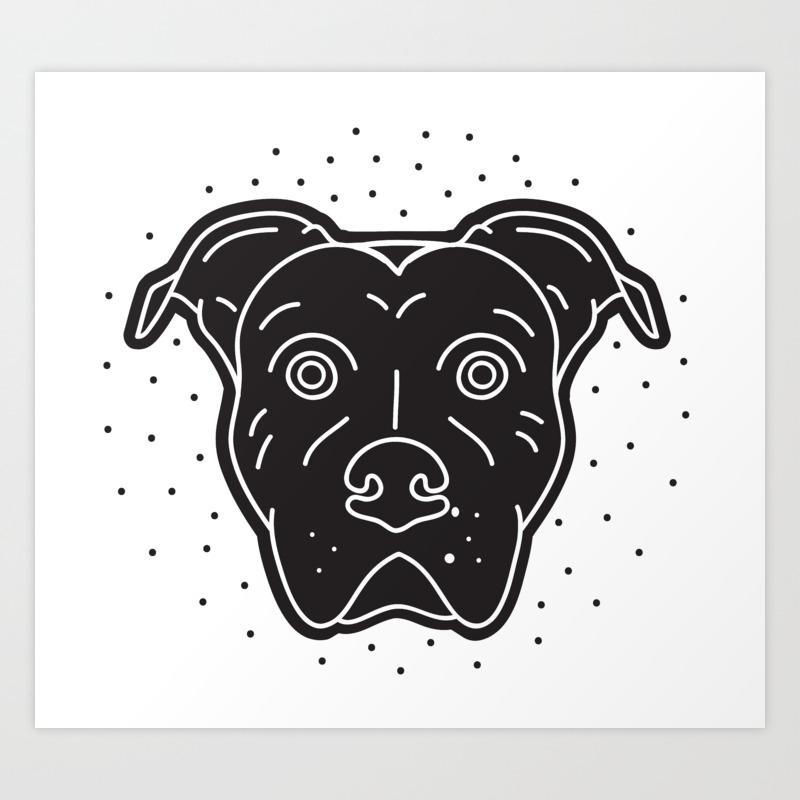 - Black Pitbull Head Dog Print Art Print By Oddsanddogs Society6
