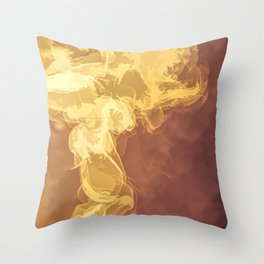 Abstract Smoke in yellow, orange and red Throw Pillow