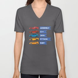 C++ Java Python Ruby Language Car Comparison Unisex V-Neck