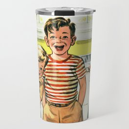 Vintage Illustration of Three Kids Travel Mug