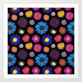 60's Daisy Crazy in Black Art Print