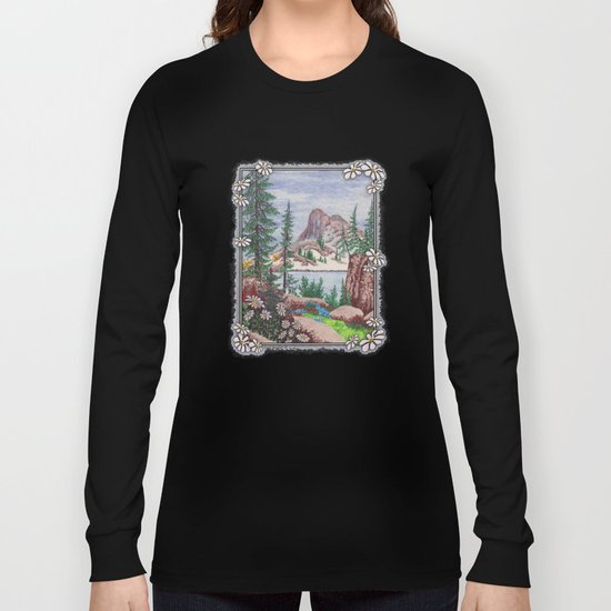 SIERRA NEVADA DREAMING VINTAGE PEN AND COLOR PENCIL DRAWING Long Sleeve T-shirt
