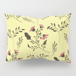 Rose Hummingbirds and Pink Flowers in Butter Yellow Floral Pattern with Pink Flowers and Bark Brown Pillow Sham
