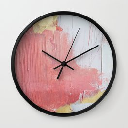 Melody: a pretty minimal abstract painting in gold pink and white by Alyssa Hamilton Art Wall Clock
