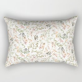 Dainty Intricate Pastel Floral Pattern Rectangular Pillow