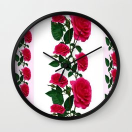 DECORATIVE CLIMBING PINK ROSES ON WHITE ART Wall Clock