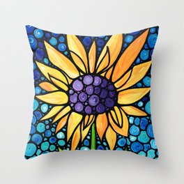Standing Tall - Sunflower Art By Sharon Cummings Throw Pillow