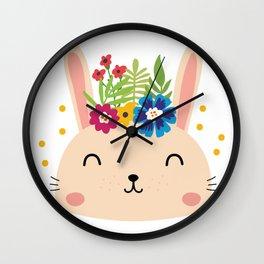 Cute Face Bunny Easter Day Gif Kids Girls Women Wall Clock