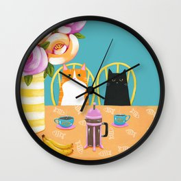 French Press Coffee Cats and Bananas Wall Clock