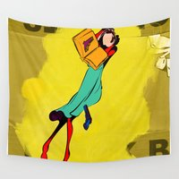 library Wall Tapestries featuring HIS LIBRARY by kasi minami