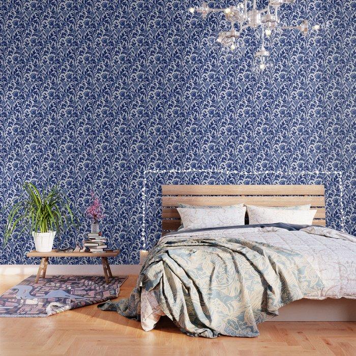 William Morris Thistle Damask, Cobalt Blue & White Wallpaper