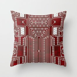 Red Geek Motherboard Circuit Pattern Throw Pillow