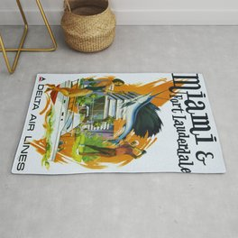 Vintage Fort Lauderdale - Miami, Florida Delta Airlines Advertisement Poster Rug