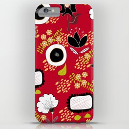 Chili Pepper Flowers - Red with Black & White iPhone Case