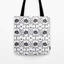 happy hallowen curves and pumkins pattern Tote Bag