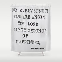 waldo Shower Curtains featuring Happiness Ralph Waldo Emerson Quote by All Surfaces Design