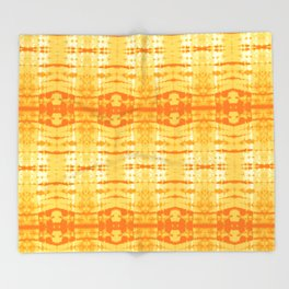 Satin Shibori Yellow Throw Blanket