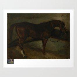 Theodore Gericault - Bruin paard Art Print