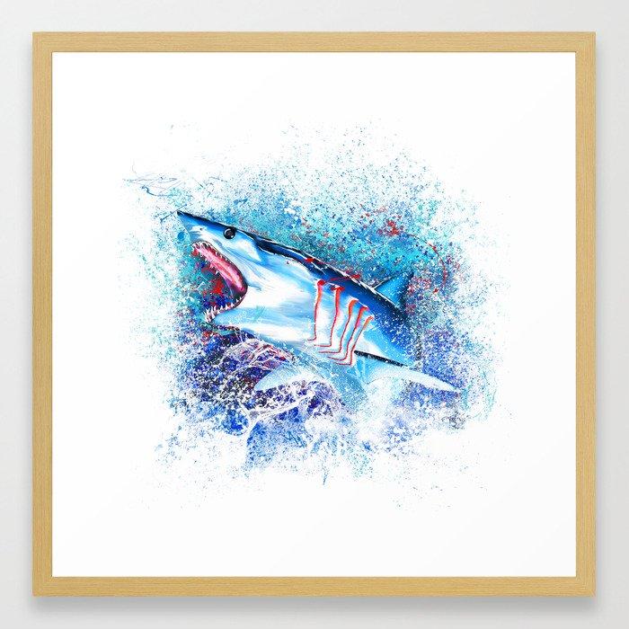 Mako Shark Breaching Framed Art Print