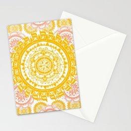 Citrus and Salmon Colored Mandala Textile Stationery Cards