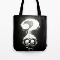 alisa burke Tote Bags featuring Question! by Dr. Lukas Brezak