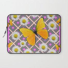 Yellow Butterfly on Lilac-pink Shasta Daisy Grey Pattern Laptop Sleeve