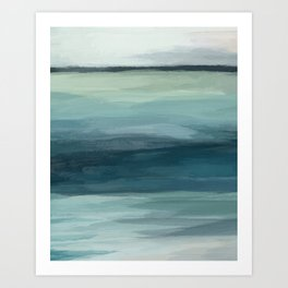 Seafoam Green Mint Navy Blue Abstract Ocean Art Painting Kunstdrucke