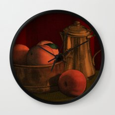 Still life with peaches Wall Clock