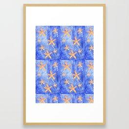Sea Star Patchwork Watercolor Pattern Framed Art Print