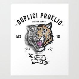 DUPLICI PROELIO Tiger by leo Tezcucano Art Print