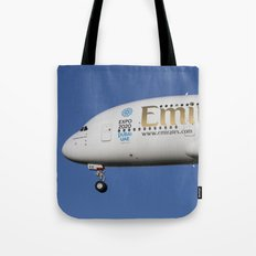 Emirates A380 Airbus And Pigeon. Tote Bag