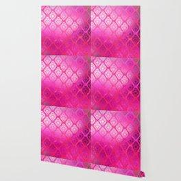 """""""Magenta Pink Damask Pattern"""" Wallpaper"""