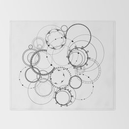 Steampunk abstract black and white geometric art Throw Blanket