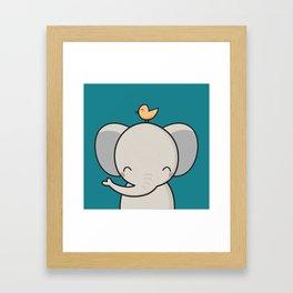 Kawaii Cute Elephant Framed Art Print