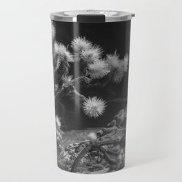 Joshua Trees and Boulders in Infrared Black and White at Joshua Tree National Park California Travel Mug