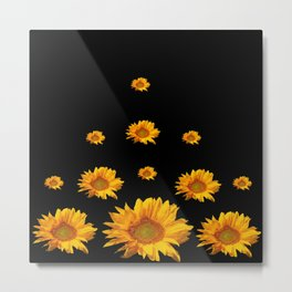 RAINING GOLDEN YELLOW SUNFLOWERS BLACK COLOR Metal Print