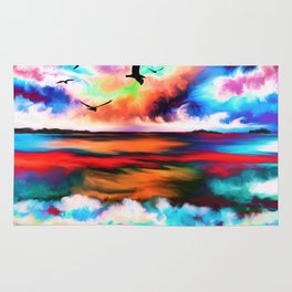 Abstract Rainbow Watercolor Beach (Color) Rug