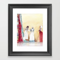 Black and Blue all over - From The Princess and the Pea - By: Hans Christian Andersen Framed Art Print