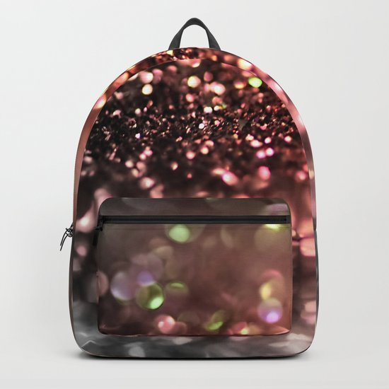Copper grey and black shiny glitter print - Sparkle Luxury Backdrop Backpack