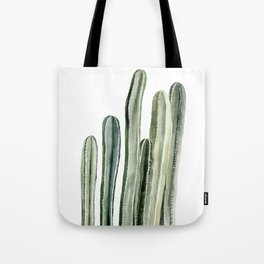 Tall Cacti Watercolor Painting Tote Bag