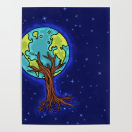 SPACE EARTH TREE Poster