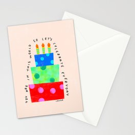 Let's Celebrate Everyday - Self-Love Quote Happy Positive Affirmation cake illustration  Stationery Cards