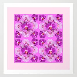 Pink Color Abstracted Modern Purple Moth Orchids Art Print