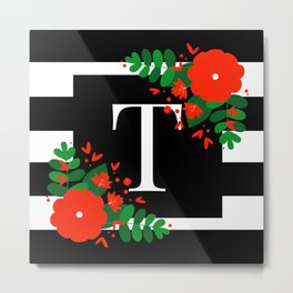 T - Monogram Black and White with Red Flowers Metal Print