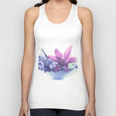 Summer flower pattern lilies and lavender Unisex Tank Top