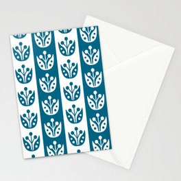 Mid Century Modern Flower Stripes Pattern Peacock Blue Stationery Cards