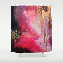 Love Bomb Original Painting by Rachael Rice Shower Curtain