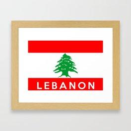 Lebanon country flag name text Framed Art Print