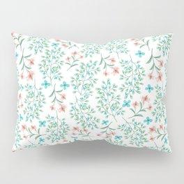 Modern teal pastel coral botanical floral Pillow Sham